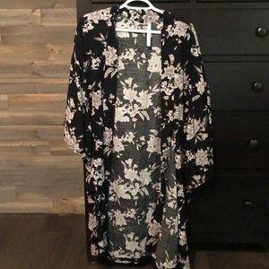 Black Floral Spiritual Gangster Kimono